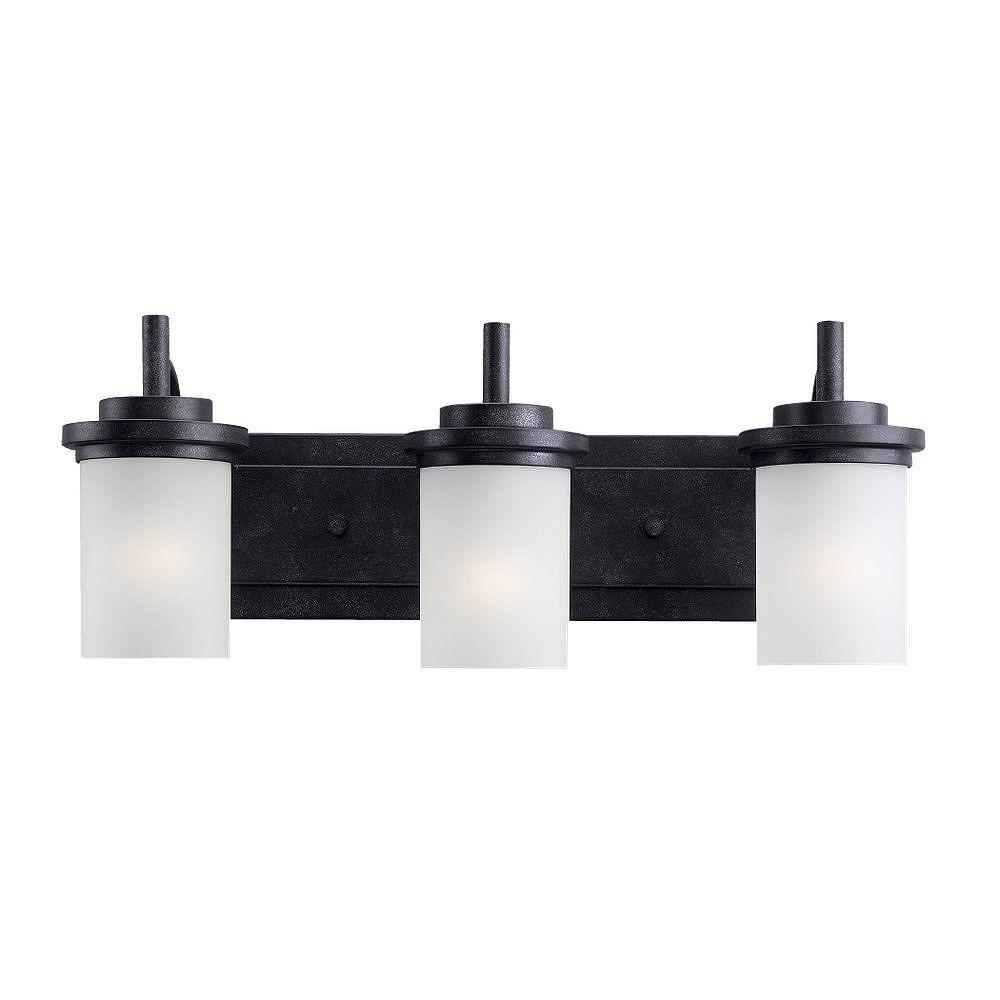 Sea Gull Lighting Blacksmith 3-Light Incandescent Bathroom Vanity Light Fixture with Satin Etched Shades