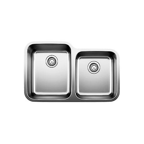 Évier de cuisine sous plan Stellar U 1 ¾ à deux cuves, acier inoxydable
