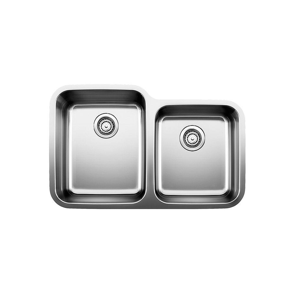 Blanco Évier à montage sous plan et à deux cuves STELLAR U 1.75, acier inoxydable