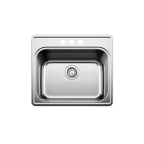 ESSENTIAL LAUNDRY, Single Bowl Drop-in Sink (3 Hole, 4 inch Center), Stainless Steel