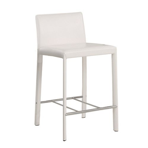 Faux Leather White Modern Low Back Armless Bar Stool with White Faux Leather Seat - (Set of 2)