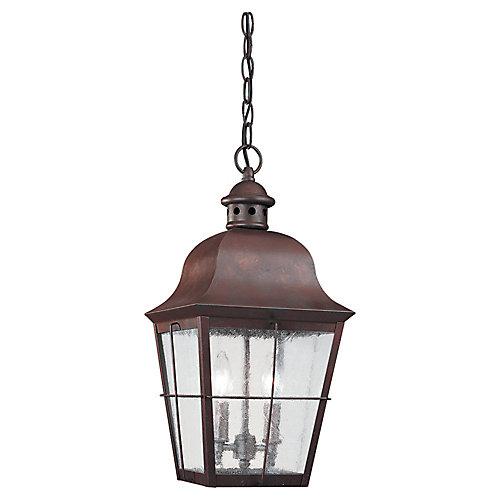 2 lumières intempéries cuivre incandescent Pendant extérieure