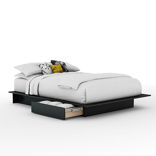 Queen-Size Platform Bed with Drawers in Pure Black