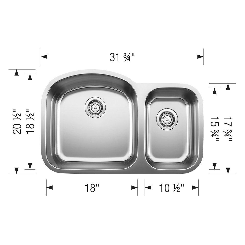 Blanco STELLAR U 1.5, Offset Double Bowl Undermount Kitchen Sink, Stainless Steel