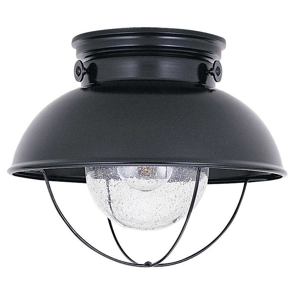 Sea Gull Lighting Plafonnier Seagull à une ampoule avec abat-jour clair, Fini noir
