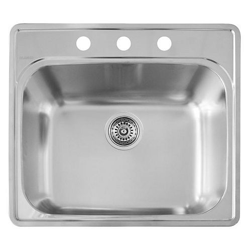 Stainless Steel top mount Laundry Sink, Single Bowl, 3-Hole
