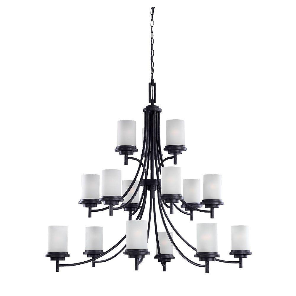 Sea Gull Lighting 15-Light 60W Blacksmith Chandelier with Satin Shade