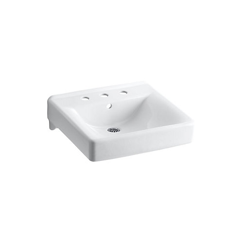 Soho(R) 20 inch x 18 inch wall-mount/concealed arm carrier bathroom sink with 8 inch widespread faucet holes