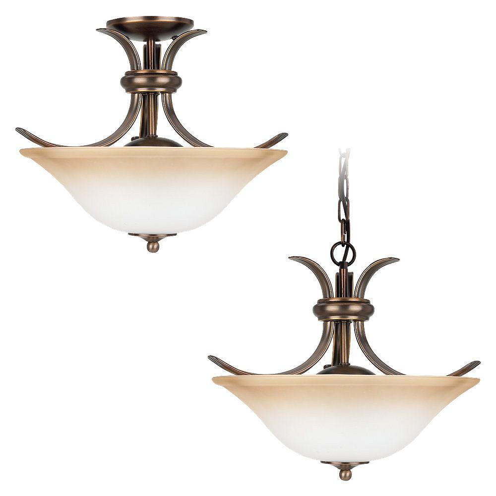 Sea Gull Lighting 2-Light Russet Bronze Ceiling Fixture