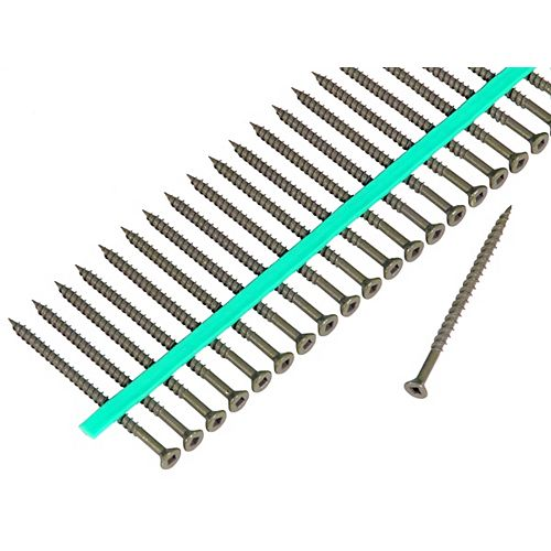 Auto Feed 8 x 3 -inch Green Shieldguard Coated Flat-Head Square Drive Deck Screws (1,200-Pack)