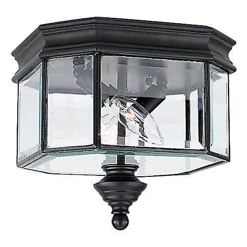 Plafonnier Seagull à deux ampoules avec abat-jour clair, Fini noir