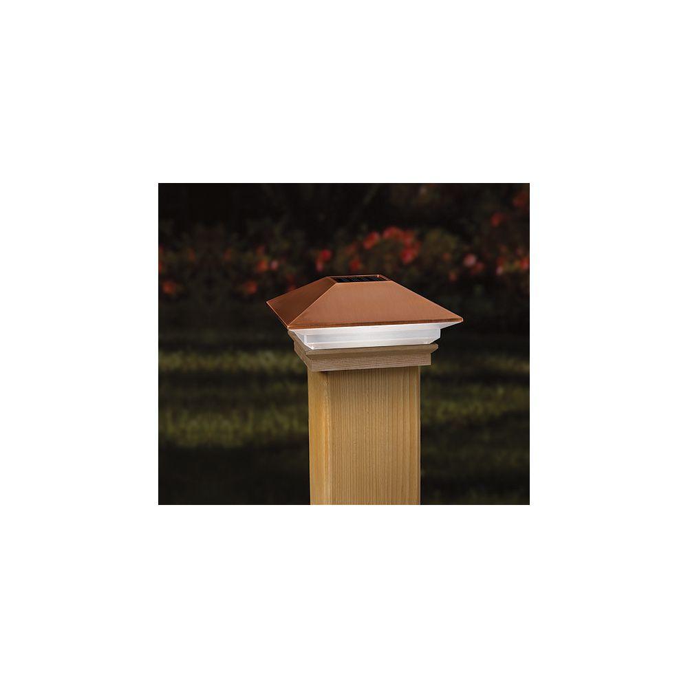 Veranda 4-inch x 4-inch Solar LED Light Post Cap in Copper
