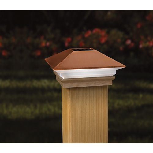 4-inch x 4-inch Solar LED Light Post Cap in Copper