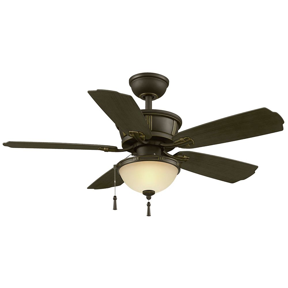 Hampton Bay Umber 46 Inch Outdoor Rated Ceiling Fan with Natural Iron Finish and Dark Walnut blades