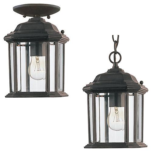Lustre Seagull à une ampoule avec abat-jour clair, Fini noir