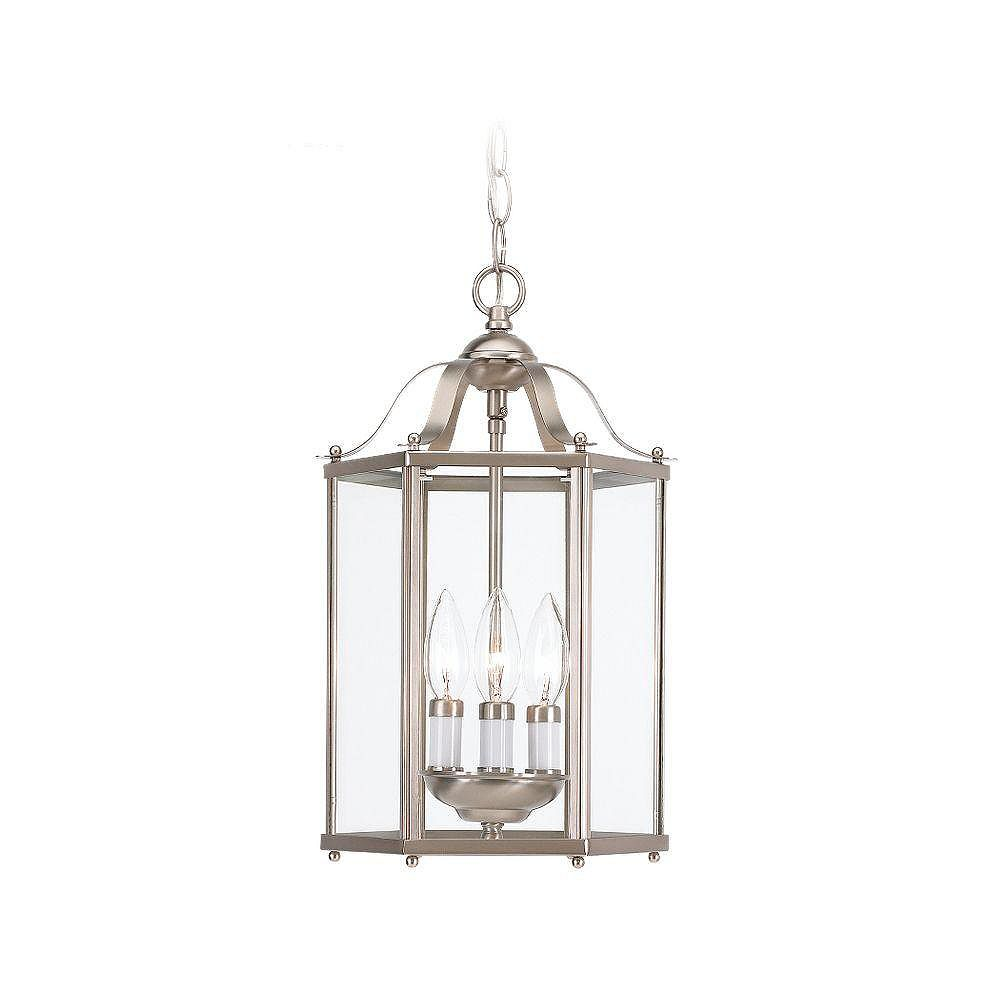 Sea Gull Lighting 40W 3-Light Brushed Nickel Pendant Light Fixture with Clear Glass Shade