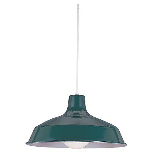 Lustre Seagull à une ampoule avec abat-jour de spécialité, Fini vert