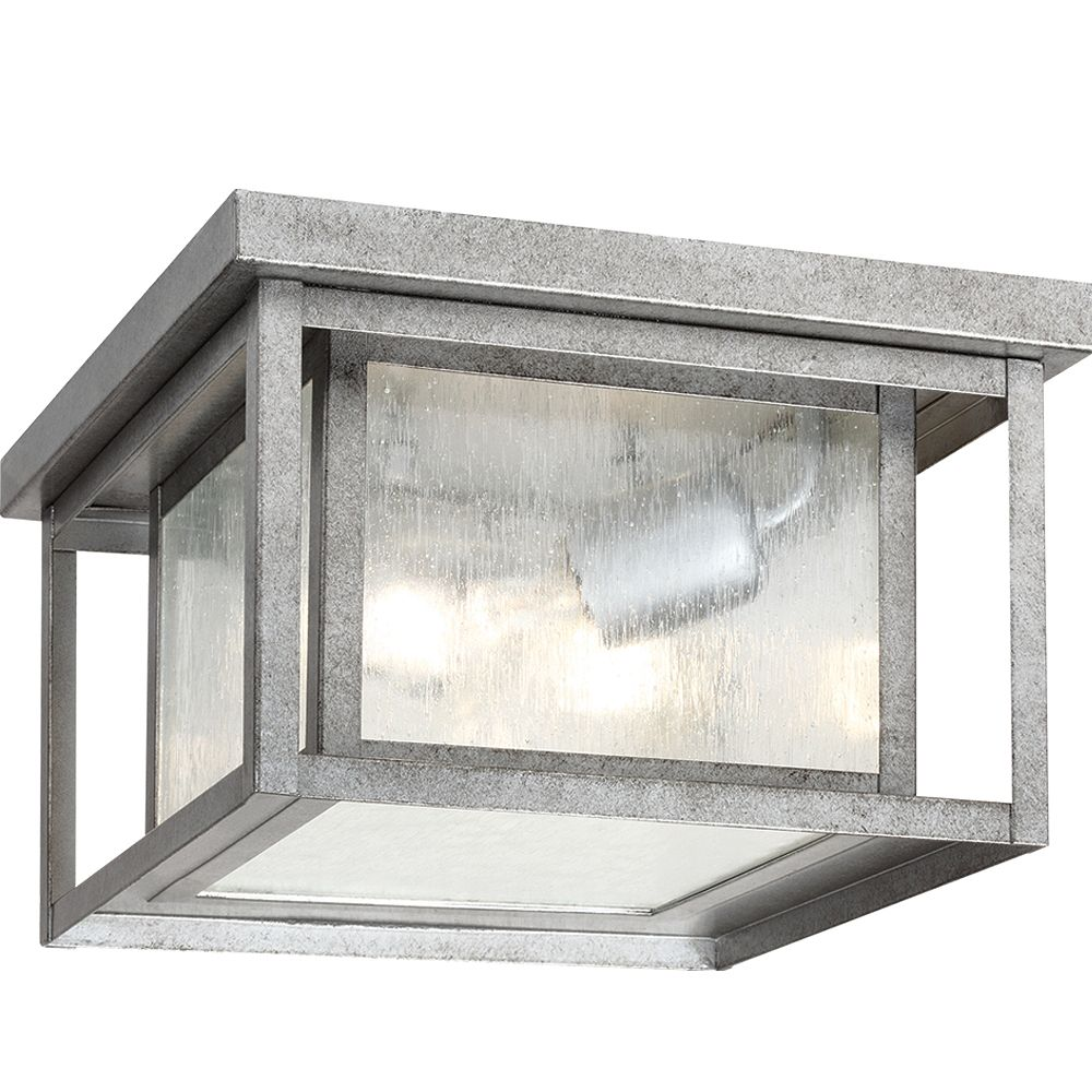 Sea Gull Lighting 2 Light Weathered Pewter Incandescent Outdoor Flush Mount