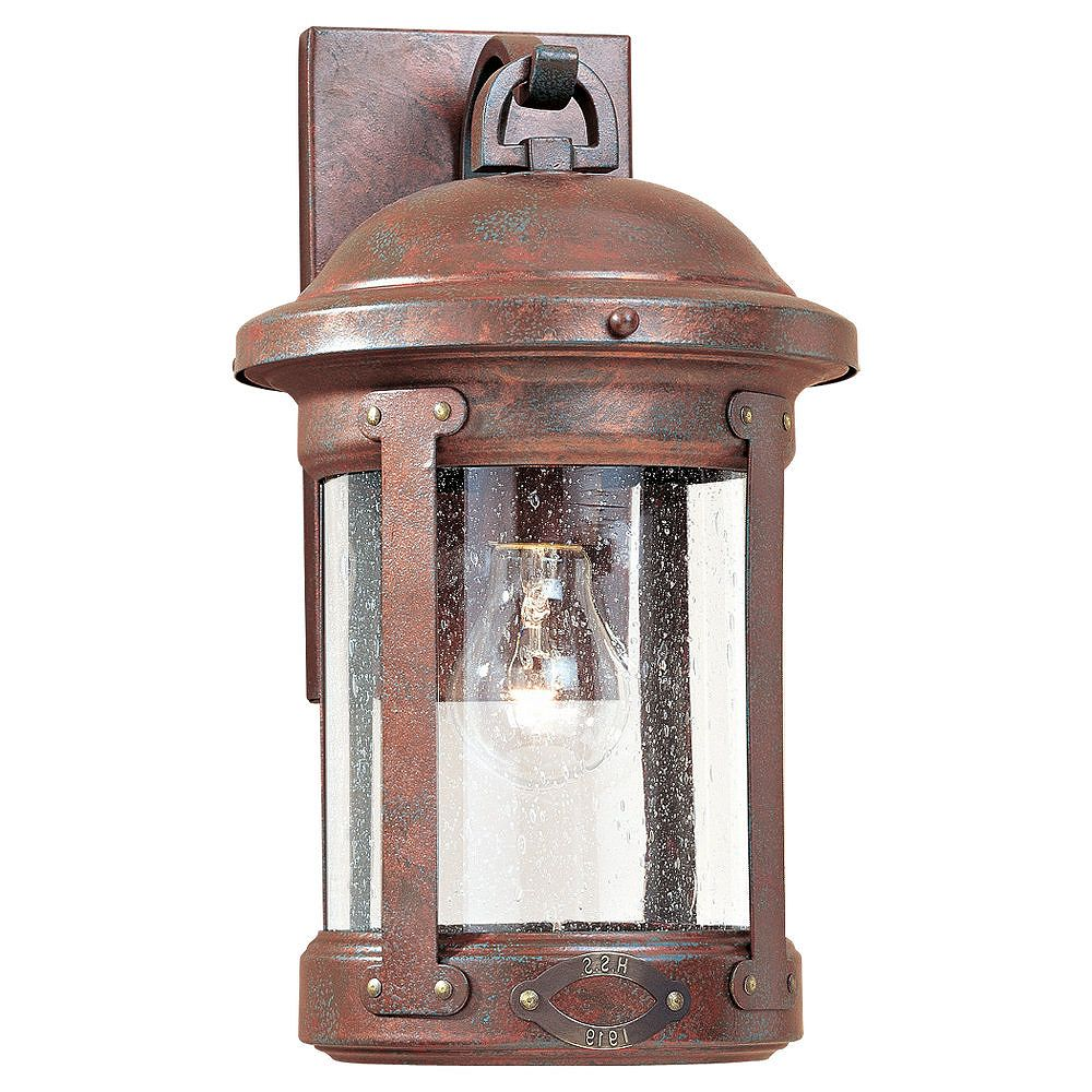 Sea Gull Lighting 1 Light Weathered Copper Incandescent Outdoor Wall Lantern