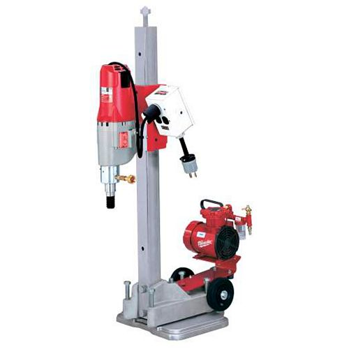Diamond Coring Rig with Small Base Stand, Vac-U-Rig Kit, Meter Box, and Diamond Coring Motor