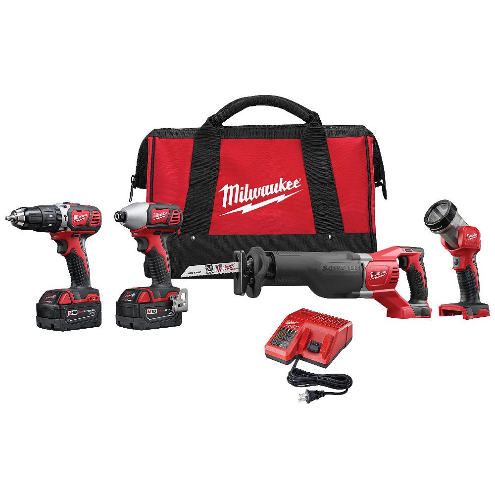 Milwaukee Tool M18 18V Lithium-Ion Cordless Combo Tool Kit (4-Tool) with (2) 3.0Ah Batteries, Charger, Tool Bag