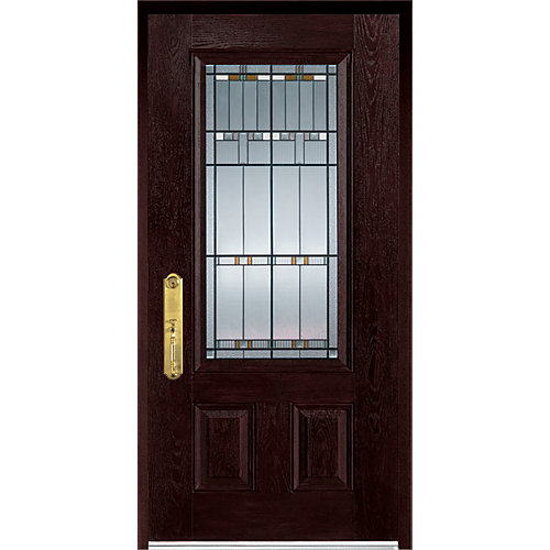 37.375 inch x 82.375 inch Chicago Patina 3/4 Lite 2-Panel Prefinished Dark Oak Right-Hand Inswing Fiberglass Prehung Front Door - ENERGY STAR®
