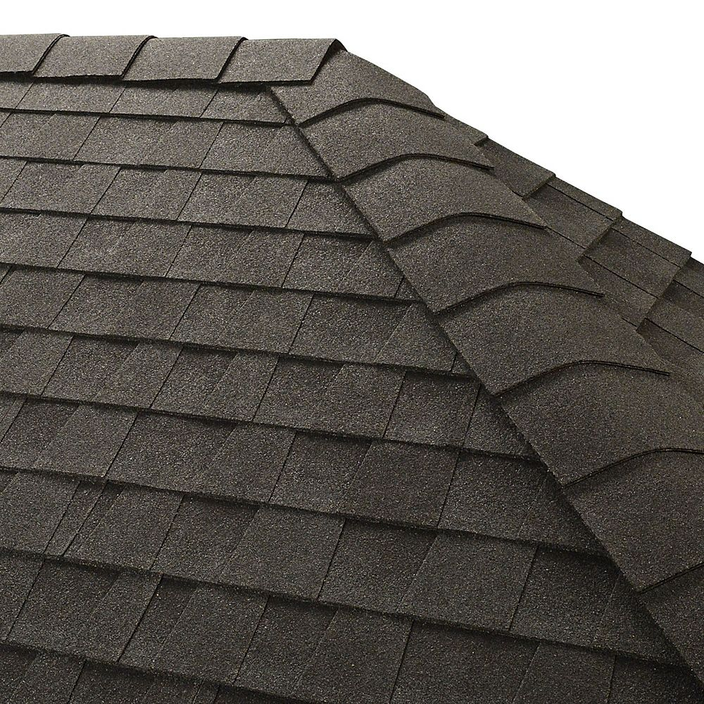 GAF TimberTex Charcoal Double-Layer Hip and Ridge Cap Shingles (20 lin. ft. per Bundle) (30-pieces)