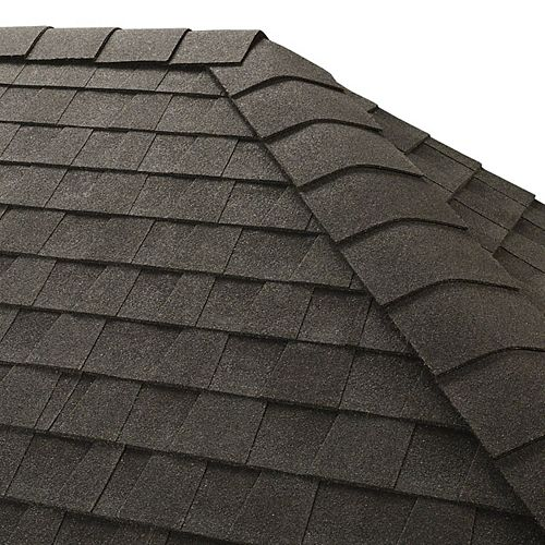 TimberTex Charcoal Double-Layer Hip and Ridge Cap Shingles (20 lin. ft. per Bundle) (30-pieces)