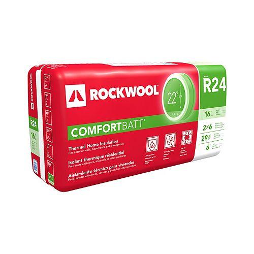 ROCKWOOL COMFORTBATT R24 - montants de bois 2 x 6 à 16 po d'entraxe
