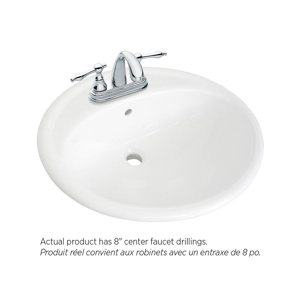 Foremost 20 1 4 Inch W X 17 8 D Oval Drop In Bathroom Sink With Centres T The Home Depot Canada