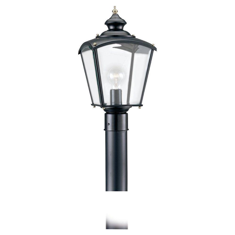 Sea Gull Lighting Lumière Seagull fixée au mur à une ampoule avec abat-jour clair, Fini noir