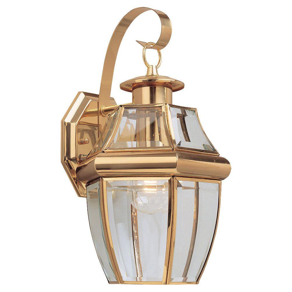 Sea Gull Lighting 1-Light Polished Brass Outdoor Wall Lantern