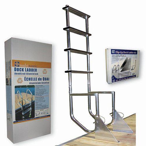 4-Step Aluminum Flip-Up Dock Ladder
