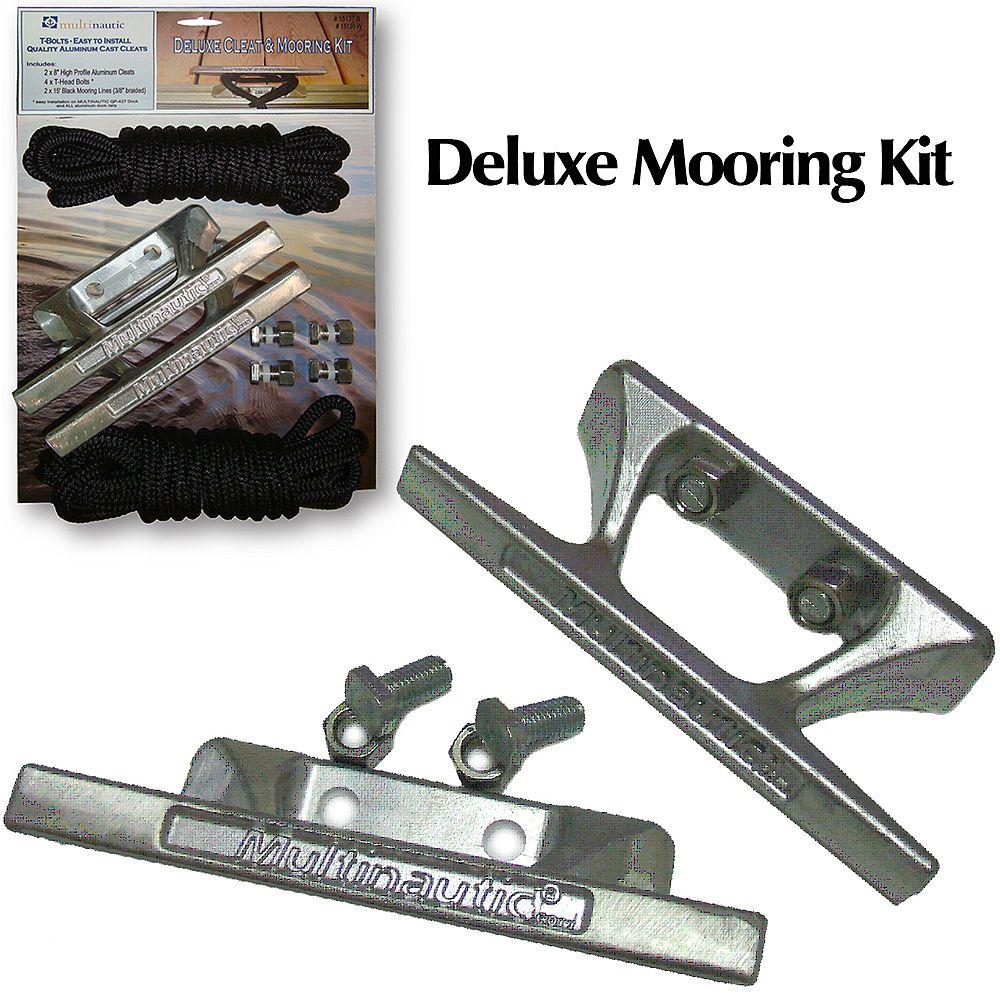 Multinautic Kit damarrage Deluxe avec (2x) taquets daluminium et (2x) amarres de nylon