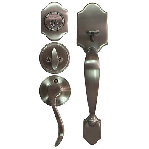 Naples Satin Nickel Single Cylinder Knob Door Handleset with Naples Interior Knob