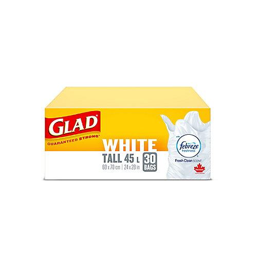 Sacs à ordures blancs longs de avec senteur fraîche et propre de Febreze fraîcheur, boîte de 30 sacs à ordures de 45 L