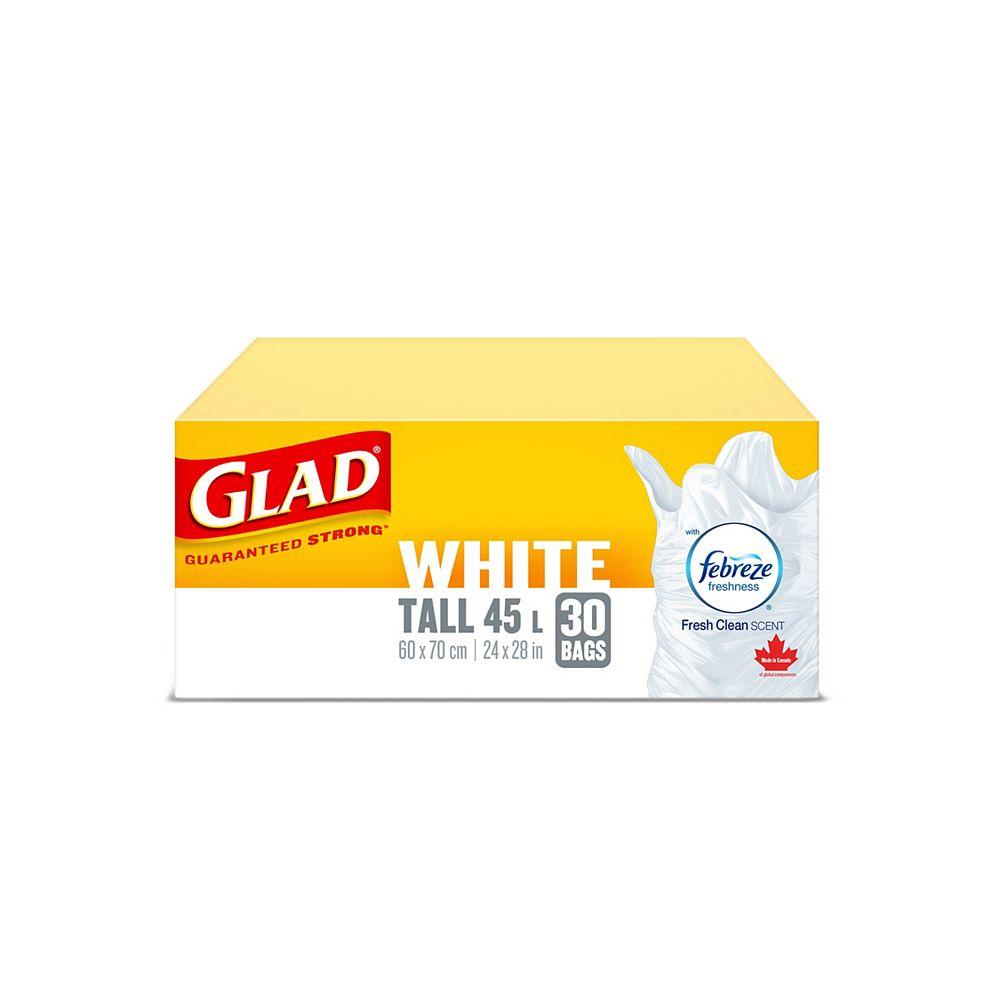 Glad Sacs à ordures blancs longs de avec senteur fraîche et propre de Febreze fraîcheur, boîte de 30 sacs à ordures de 45 L