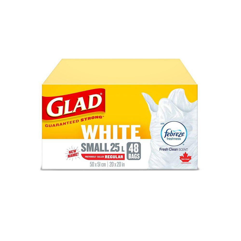 Glad Petits sacs à ordures blancs de avec senteur fraîche et propre de Febreze fraîcheur, boîte de 48 sacs à ordures de 25 L