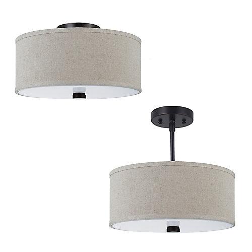Plafonnier Seagull à deux ampoules avec abat-jour de spécialité, finition de spécialité