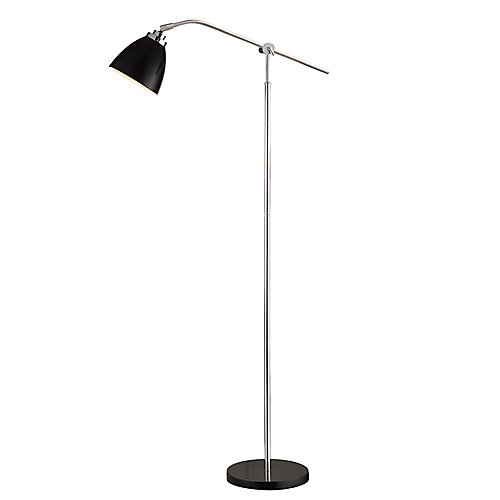 64-inch Floor Lamp in Chrome and Black