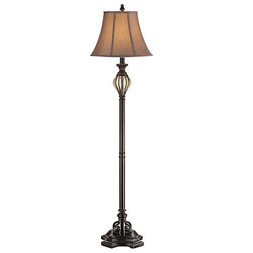 Lampadaire avec diffuseurs, orné de verre fumé, 61,5po, fini bronze