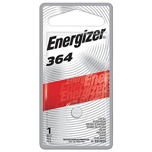 Pile bouton à l'oxyde d'argent Energizer 364, paquet de 1