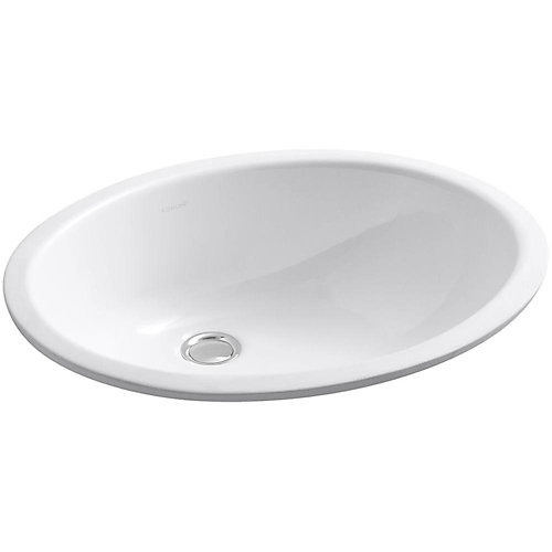 Caxton(R) Oval 17 inch x 14 inch under-mount bathroom sink with overflow and clamp assembly