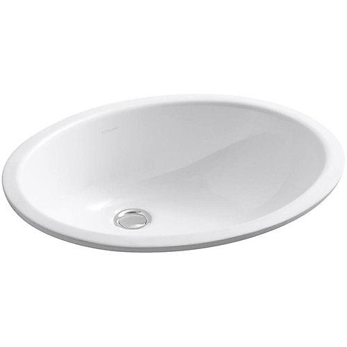Lavabo de salle de bain en sous-surface Caxton ovale, 17 x 14 po, avec trop-plein et bloc d'attache