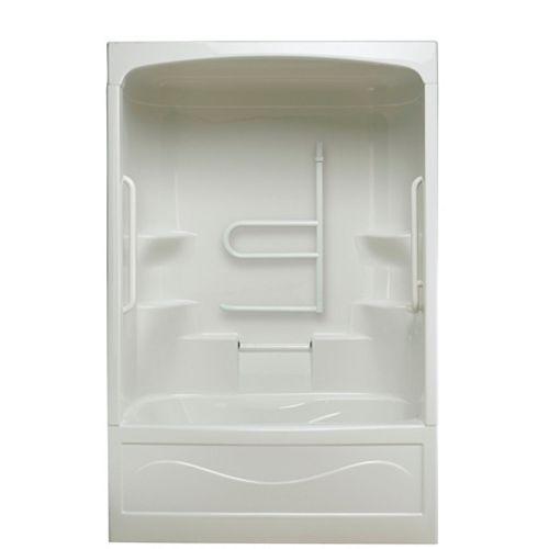 Mirolin Liberty 60-inch x 88-inch x 34-inch 4-shelf Acrylic 1-Piece Right Hand Drain Tub & Shower