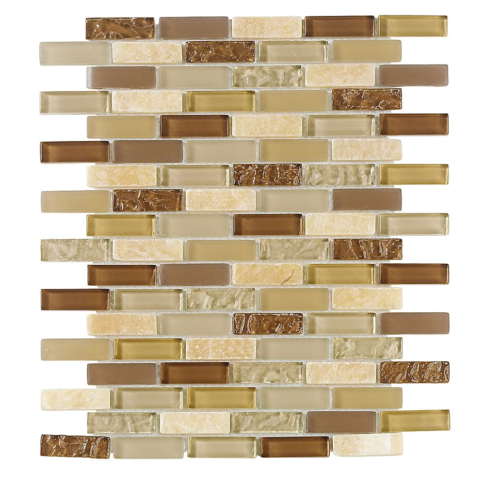 Jeffrey Court 10-inch x 12-inch Glass/Stone Mosaic Mini Brick Wall Tile in Sunwashed (8.3 sq. ft./case)