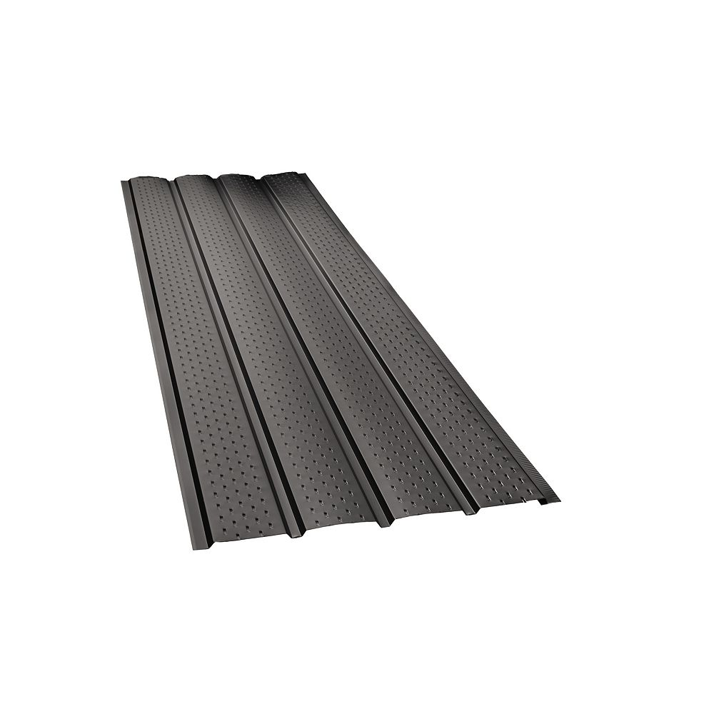 Peak Products 10 ft. L x 17 1/2-inch W x 4-inch H Aluminum 4-Panel Vented Soffit in Black