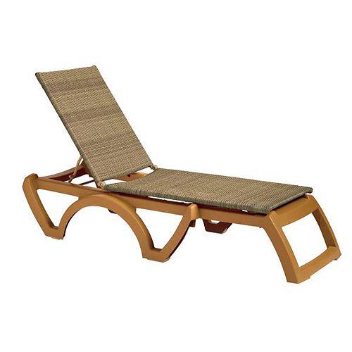 Java Wicker Outdoor Chaise in Honey (2-Piece)