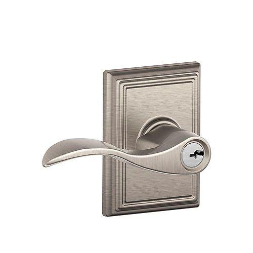 Accent Satin Nickel Keyed Entry Lock Lever in Addison Trim