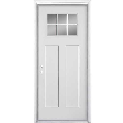 32 pouces x 80 pouces x 6-9/16 pouces 6-Lite Craftsman White Right Hand In swing Exterior Pre hung NBM
